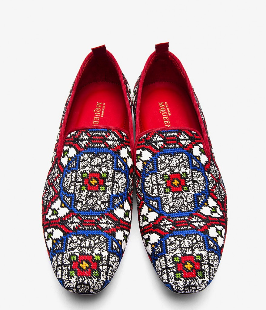 confused dasher, fashionable men loafers for fall winter 2013, ALEXANDER MCQUEEN RED WOVEN STAINED GLASS LOAFERS