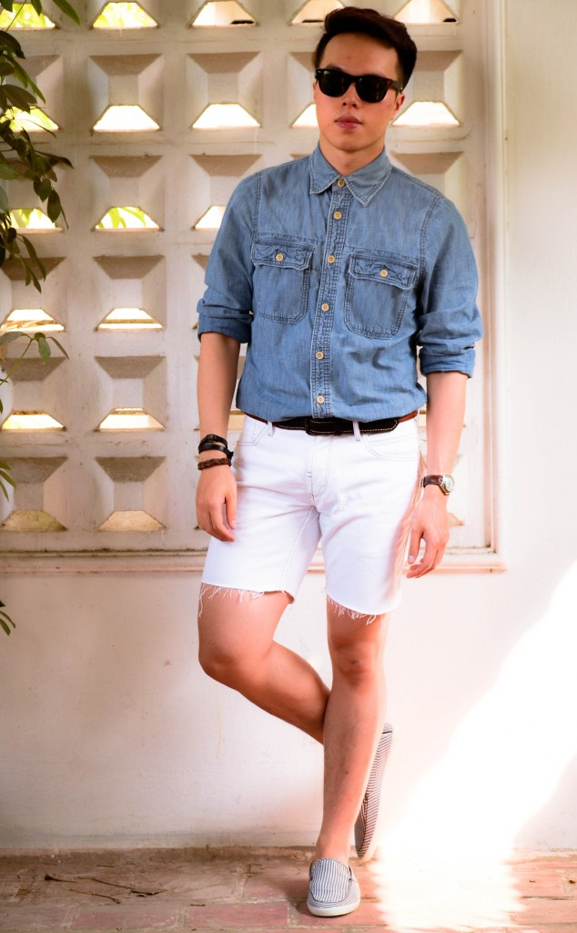 how to wear denim on denim, double denim look, confused dasher, abercrombie denim shirt, how to wear white pants for men, new england preppy look, french riviera style inspiration