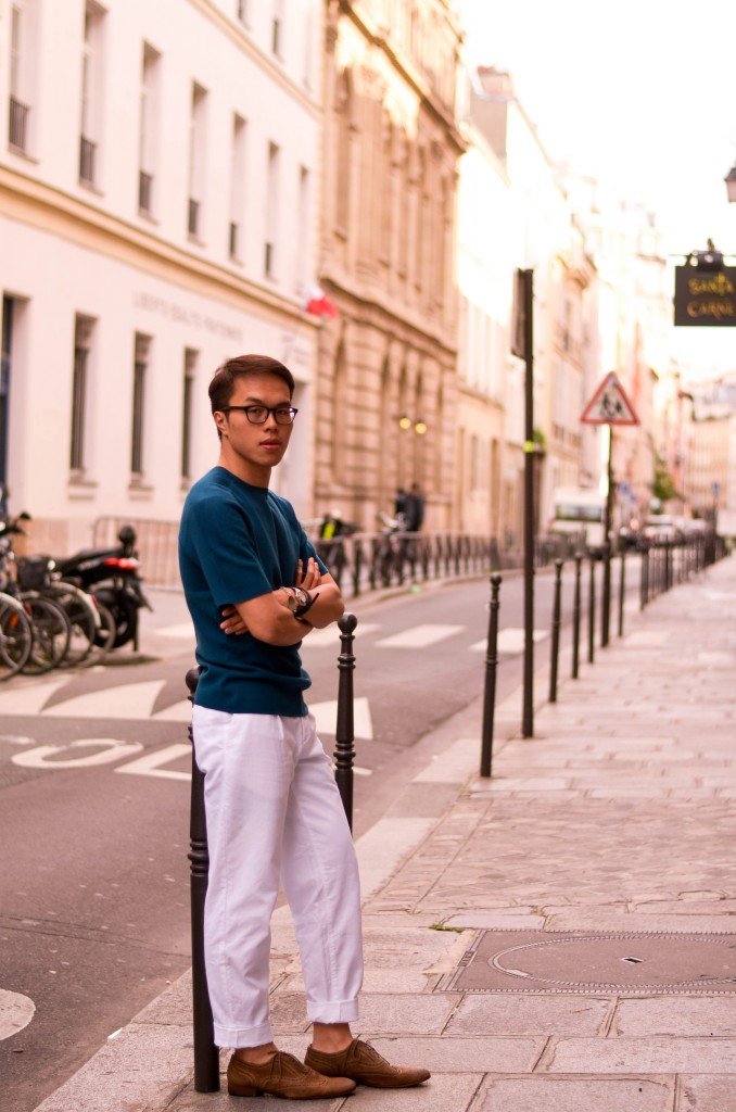 how to wear white pants, menswear, how to wear teal color men, cos le marais, confused dasher, look du jour