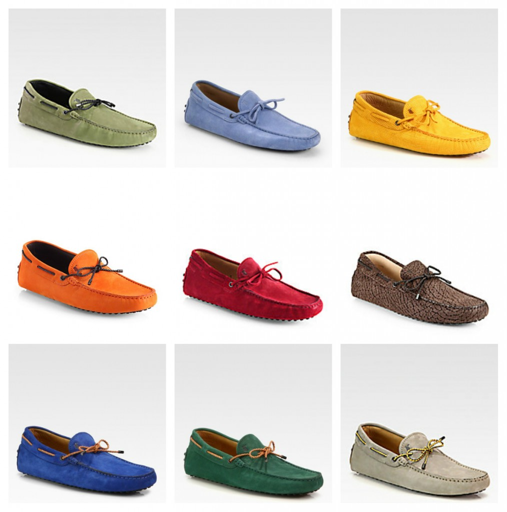 Colorful Tod's Laccetto, Laccetto Lassant Pebbled Leather Drivers Orange, Yellow Laccetto Suede Gommini Drivers Tod's,