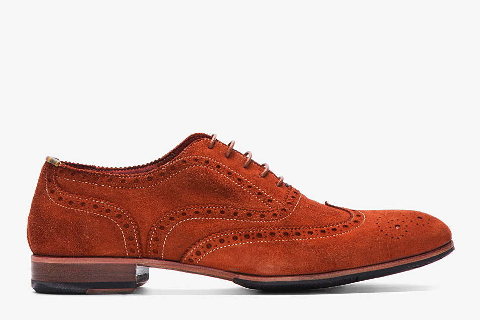 PS Paul Smith Orange Dip Dyed Suede Miller Wingtip Brogues