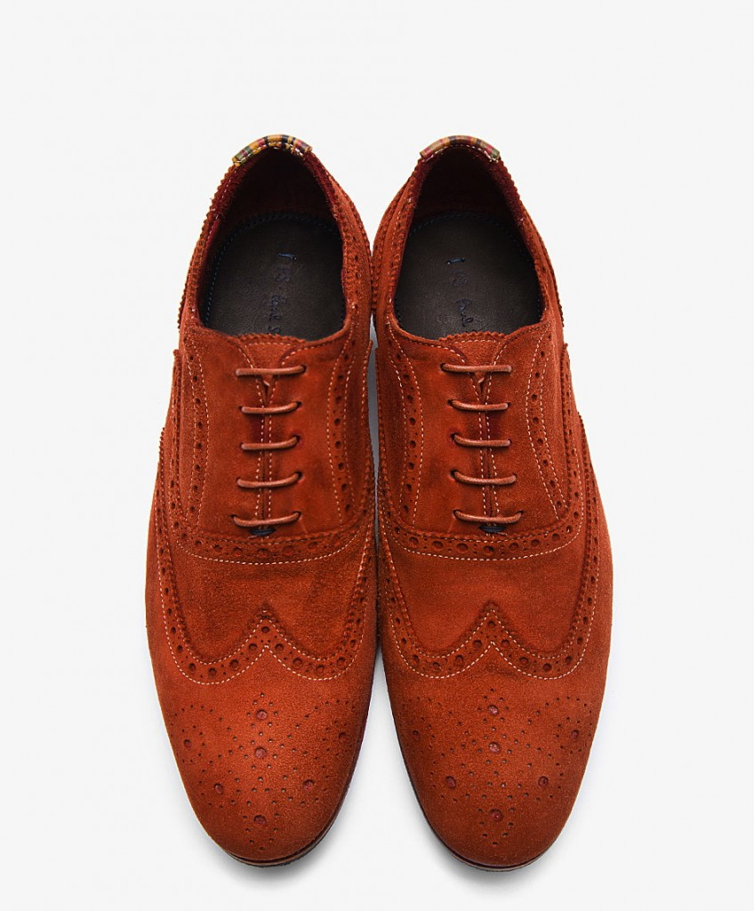 Men's shoes that make a big fashion statement: PS Paul Smith Dip-Dyed Suede Miller Wingtip Brogues. The perfect Wingtip Brogues for men, PS Paul Smith Orange Dip Dyed Suede Miller Wingtip Brogues