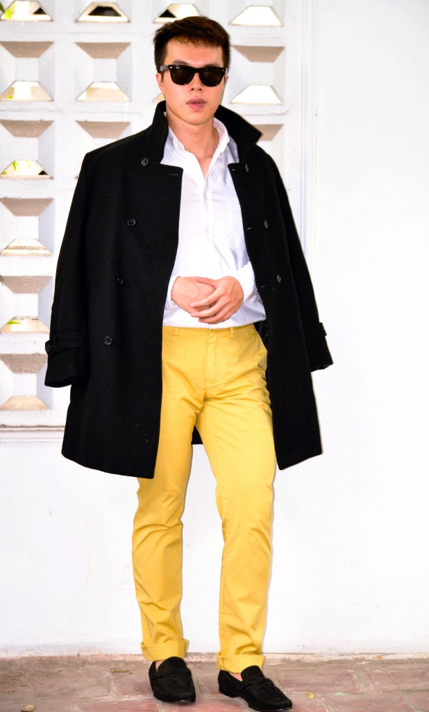 Colorful pants for men, Reiss Yellow Chinos, How to wear yellow pants men, confused dasher, COS knitwear, black yellow white color combination, the colors that go best with yellow