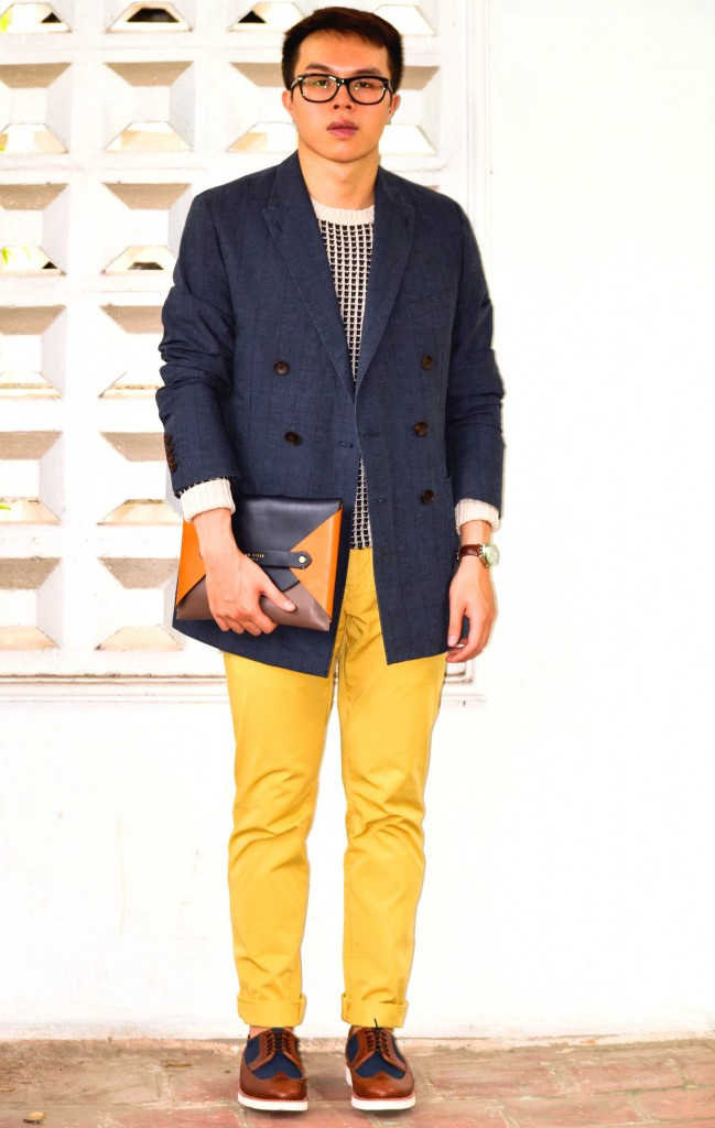 Colorful pants for men, Reiss Yellow Chinos, How to wear yellow pants men, confused dasher, COS knitwear, how to wear denim shirt, the colors that go best with yellow, REISS double-breast blazer, Ted Baker Color Envelope Tablet