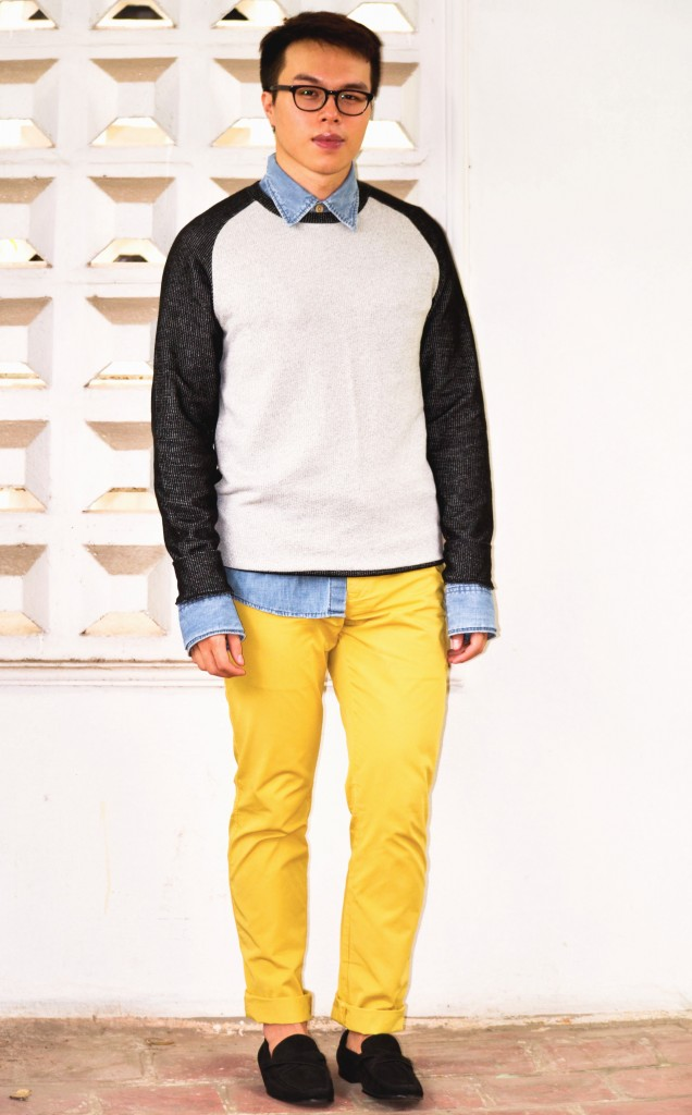 Colorful pants for men, Reiss Yellow Chinos, How to wear yellow pants men, confused dasher, COS knitwear, how to wear denim shirt, the colors that go best with yellow, COS