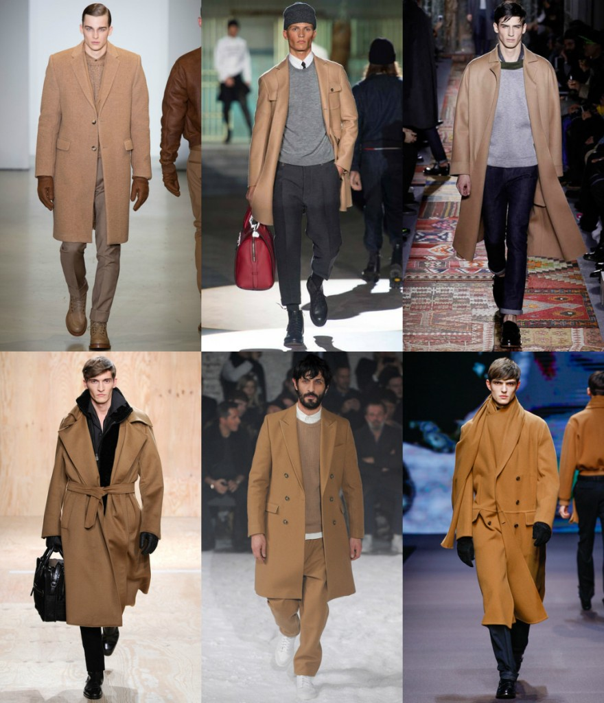 key fashion trend of menswear fall winter 2014, the camel brown coat, confused dasher, paris fashion week, milan fashion week, calvin klein, valentino, dsquared, zegna, AMI