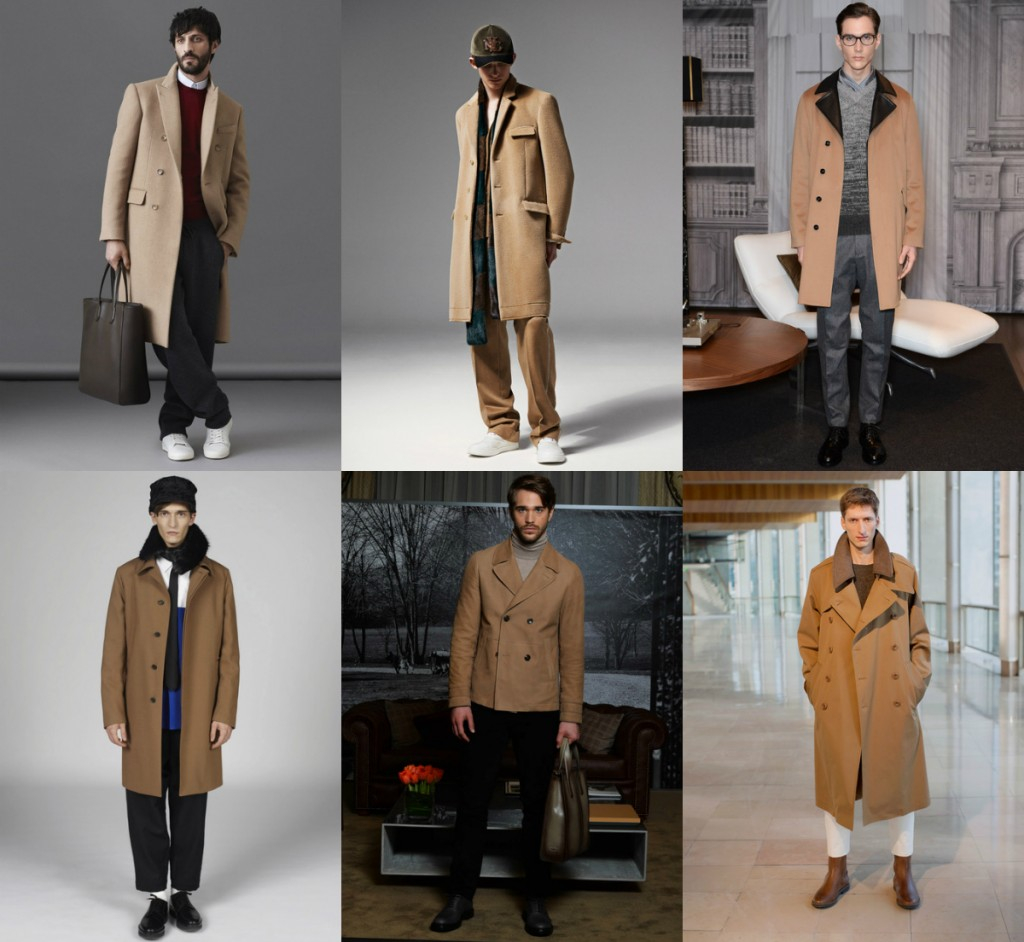 key fashion trend of menswear fall winter 2014, the camel brown coat, confused dasher, paris fashion week, milan fashion week, marc jacobs, marni, tod, bally, trussardi, lemaire