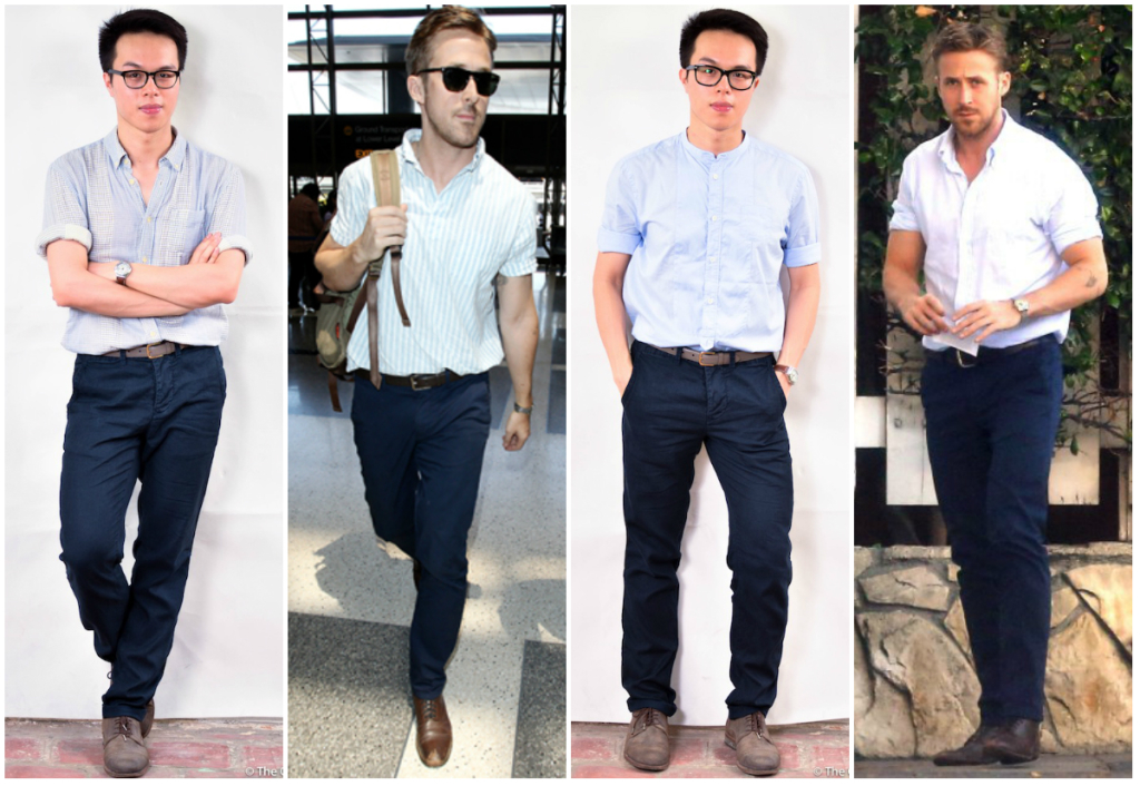 confused dasher, ryan gosling style roll sleeves 2014, how to stay cool and stylish this summer menswear, all saints shirts, all saints brogue, american apparel unisex belt