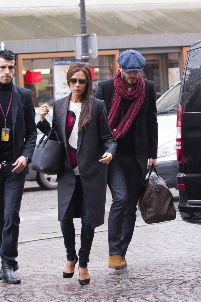 Victoria Beckham and David Beckham seen out and about in Paris