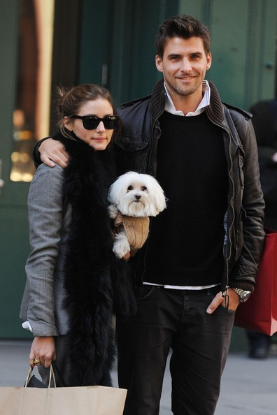 stylish couple olivia palermo and johannes huebl and their dog street style