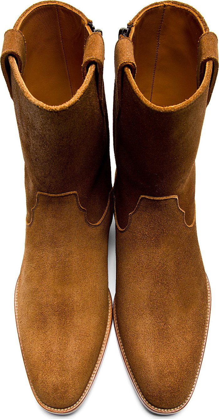 Saint Laurent Brown Suede Wyatt Cowboy Boots Ace High