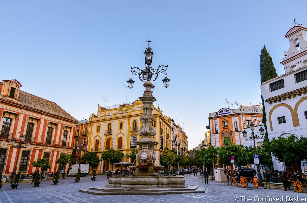 confused dasher, throwback thursday travel, colorful seville spain